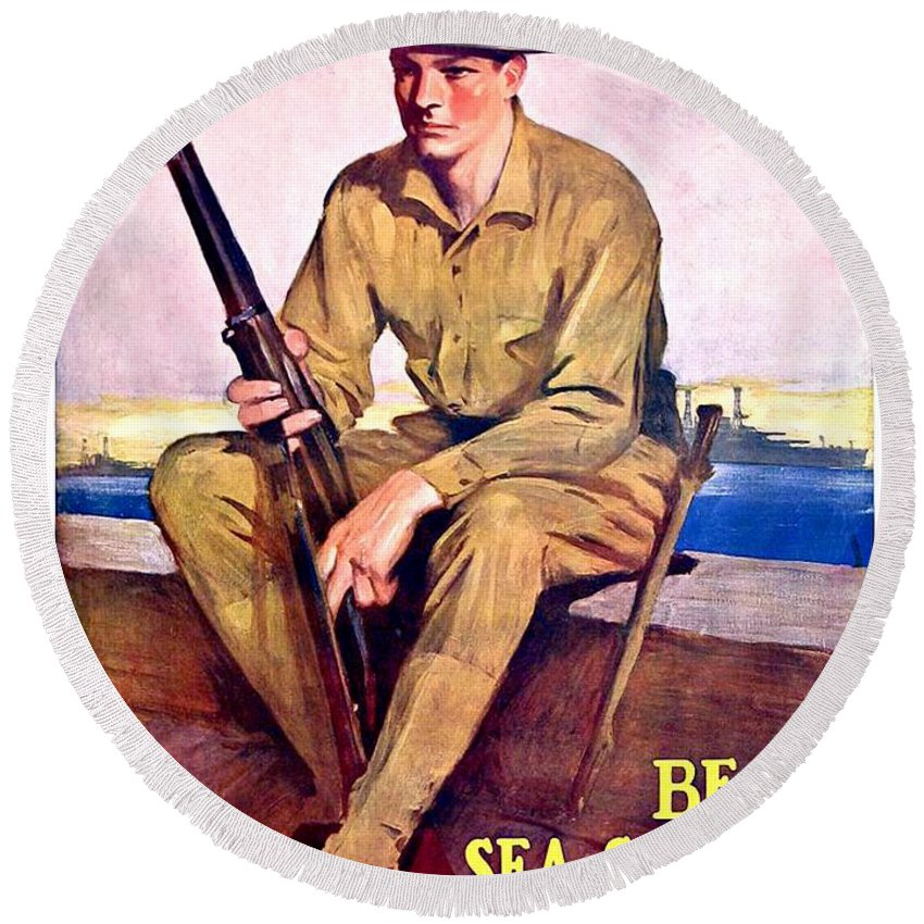 1917 Round Beach Towel featuring the digital art 1917 - United States Marines Recruiting Poster - World War One - Color by John Madison