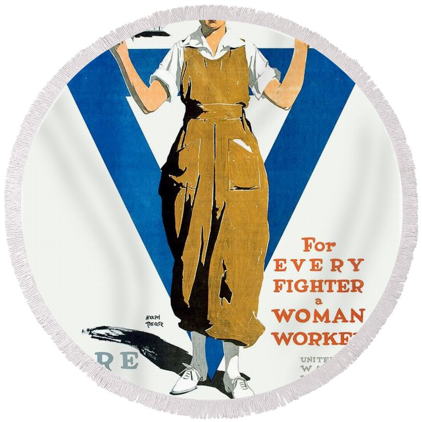 1918 Round Beach Towel featuring the digital art 1918 - Ywca Patriotic Poster - World War One - Color by John Madison