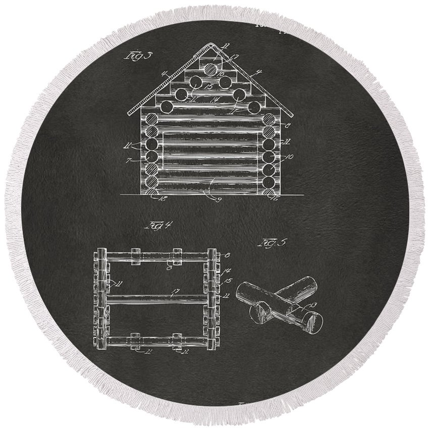 Lincoln Logs Round Beach Towel featuring the digital art 1920 Lincoln Log Cabin Patent Artwork - Gray by Nikki Marie Smith