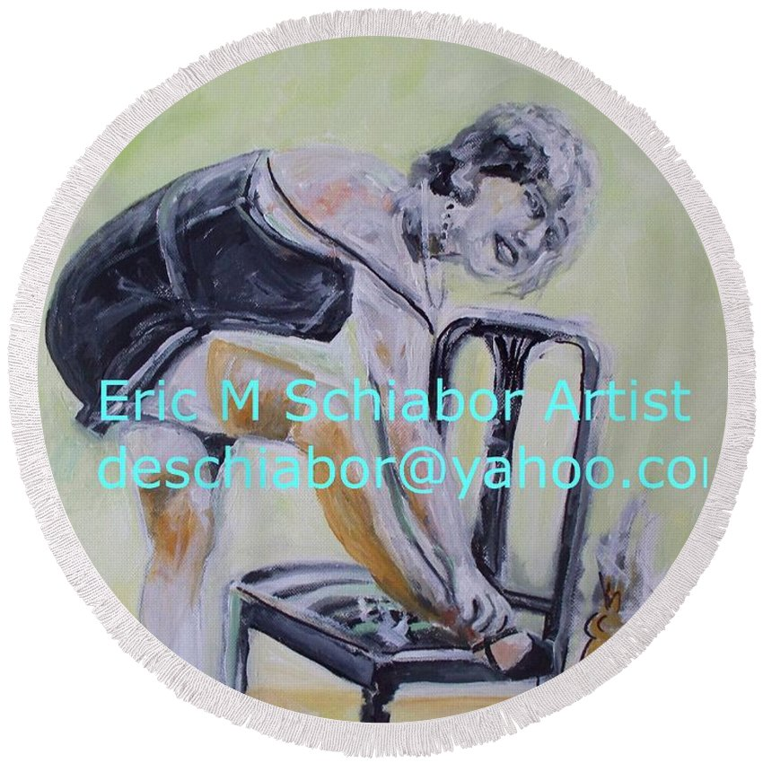 1920 Round Beach Towel featuring the painting 1920s Girl by Eric Schiabor