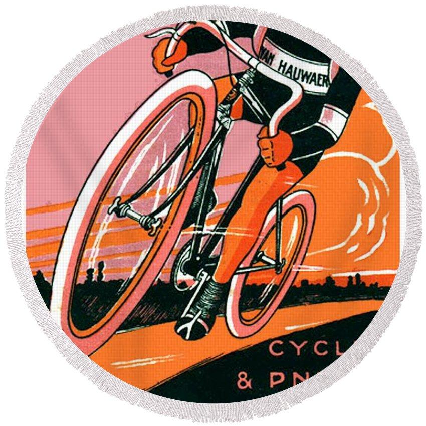 1921 Round Beach Towel featuring the digital art 1921 - Van Hauwaert Bicycle Belgian Advertisement Poster - Color by John Madison