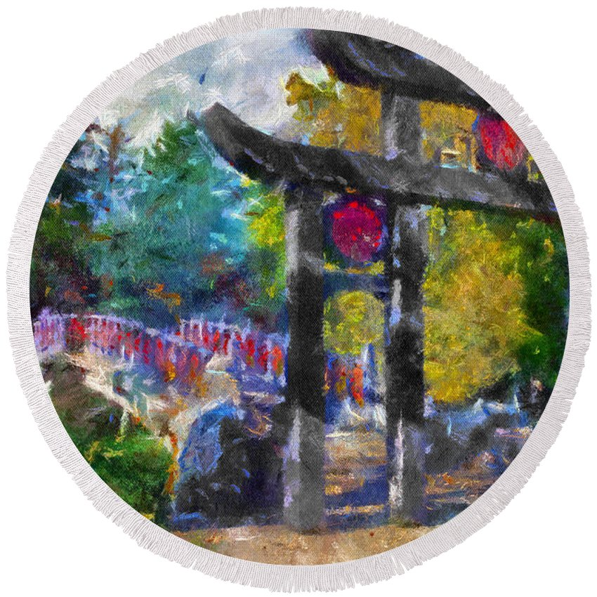 Autumn Round Beach Towel featuring the photograph 1922 Japanese Bridge At Laura Bradley Park 02 by Thomas Woolworth