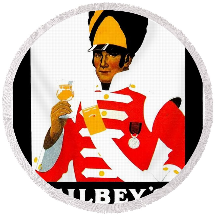 1924 Round Beach Towel featuring the digital art 1924 - Gilbey Spey-royal Whisky Advertisement - Color by John Madison