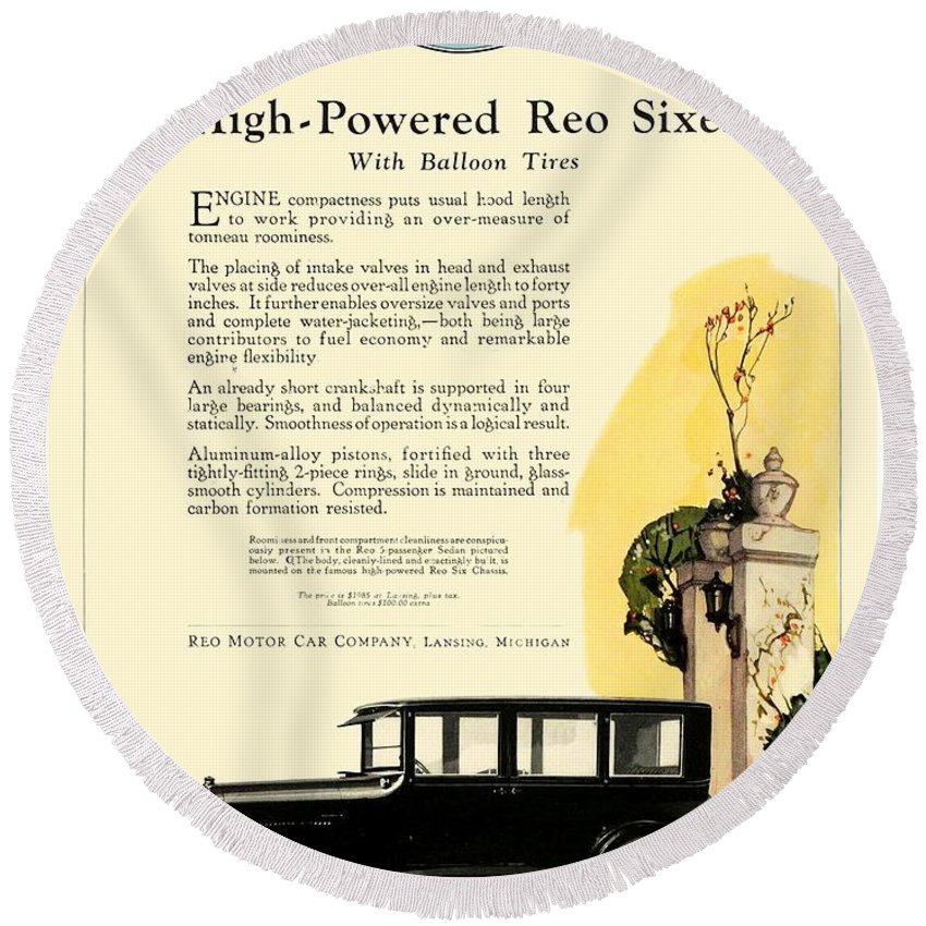 1927 Round Beach Towel featuring the digital art 1924 - Reo Six Automobile Advertisement - Color by John Madison