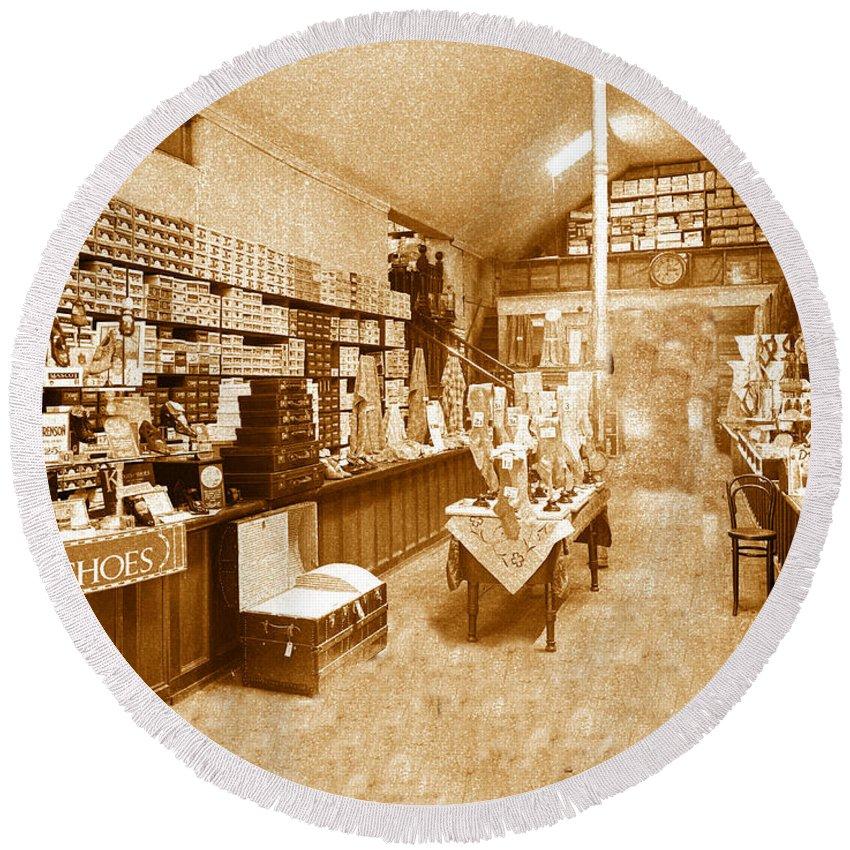 Shoe Store Round Beach Towel featuring the photograph 1925 Irish Shoe Store by Ericamaxine Price