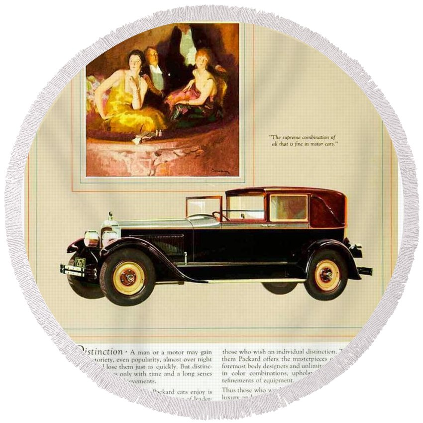 1926 Round Beach Towel featuring the digital art 1926 - Packard Automobile Advertisement - Color by John Madison