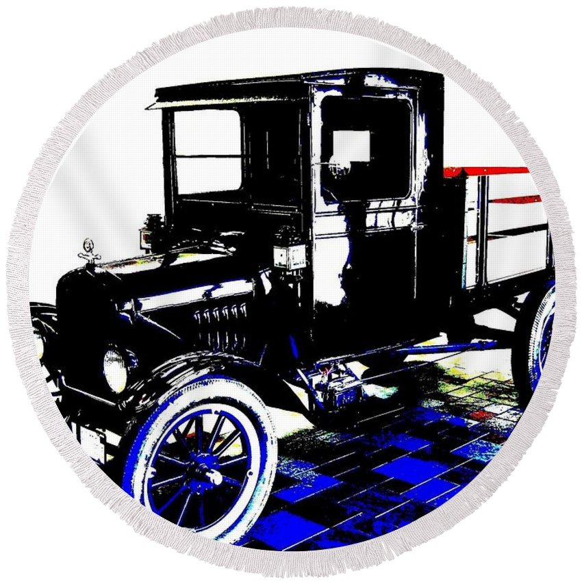 1926 Ford Model T Stakebed Round Beach Towel featuring the digital art 1926 Ford Model T Stakebed by Will Borden