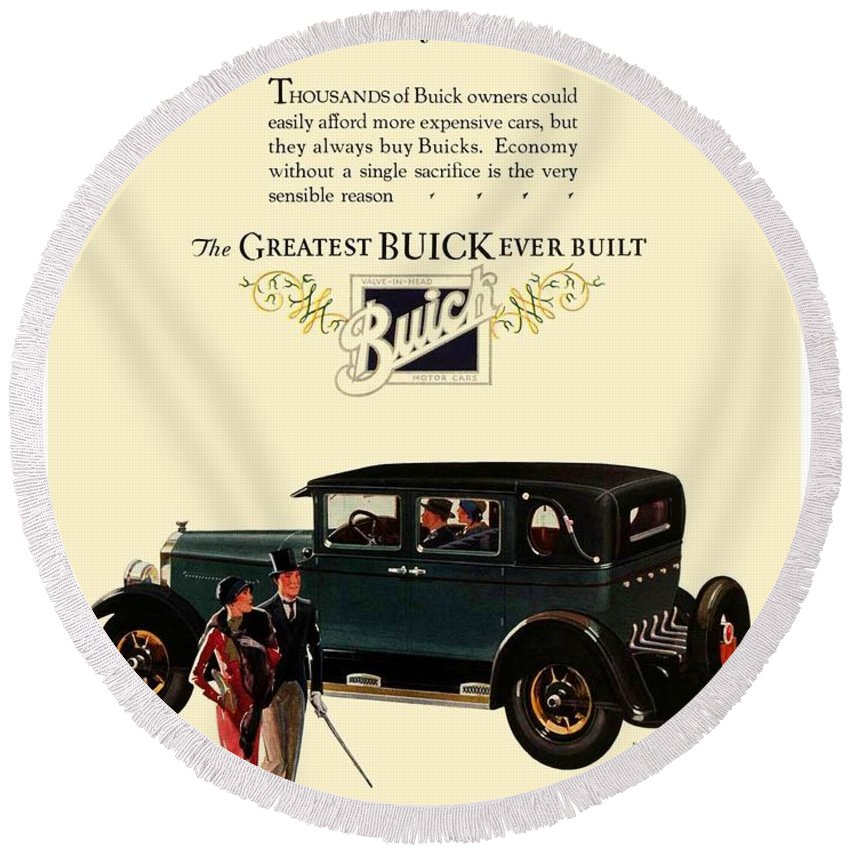 Buick Round Beach Towel featuring the digital art 1927 - Buick Automobile - Color by John Madison
