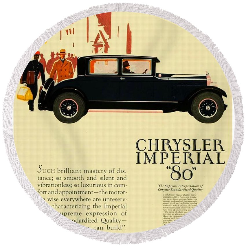 Classic Car Round Beach Towel featuring the digital art 1927 - Chrysler Imperial Model 80 Automobile Advertisement - Color by John Madison