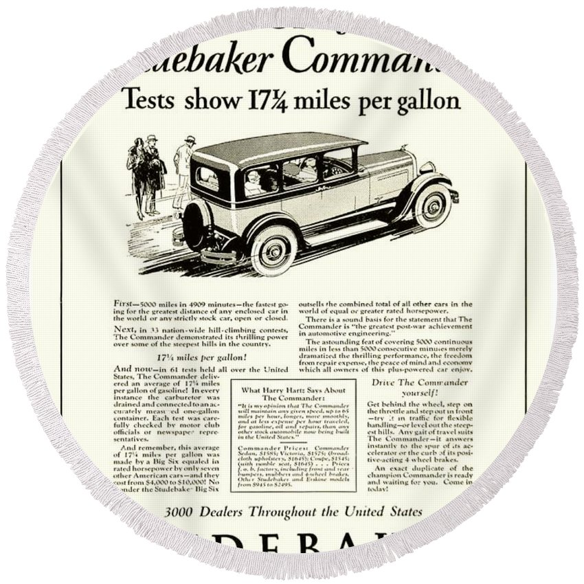 Classic Car Round Beach Towel featuring the digital art 1927 - Studebaker Commander Automobile Advertisement by John Madison
