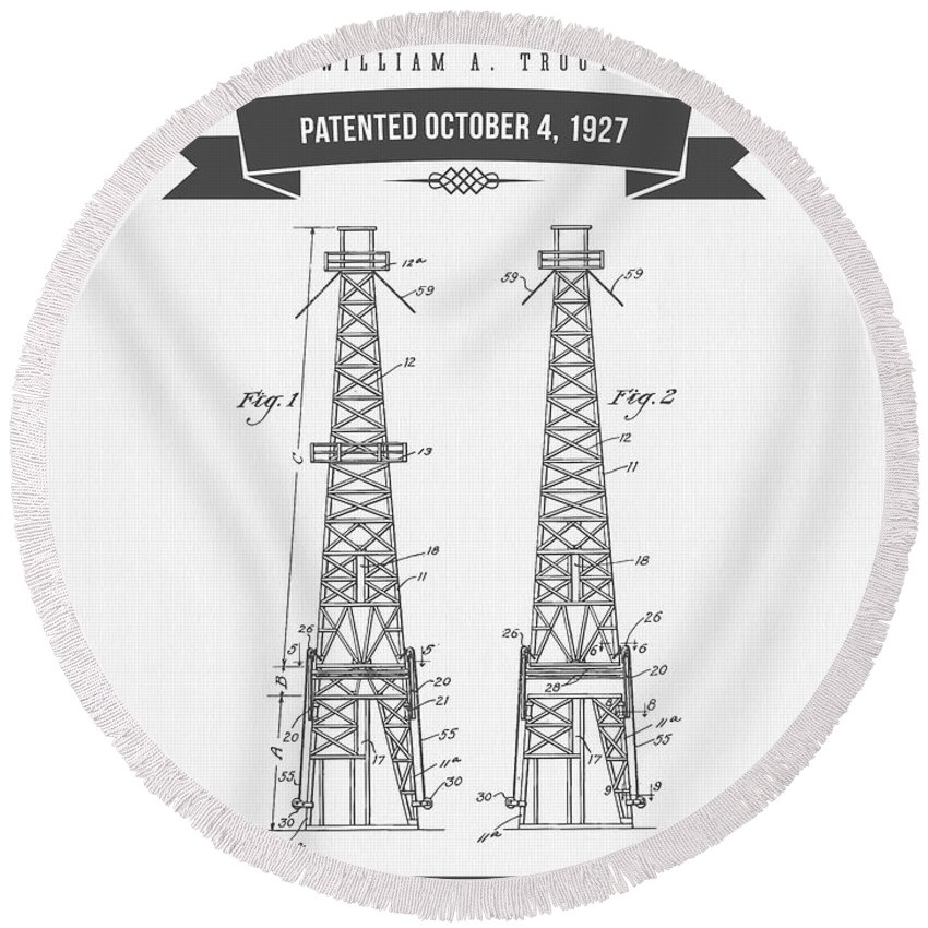 Oil Round Beach Towel featuring the digital art 1927 Oil Well Rig Patent Drawing - Retro Gray by Aged Pixel