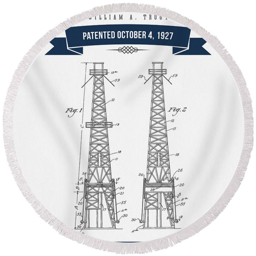 Oil Round Beach Towel featuring the digital art 1927 Oil Well Rig Patent Drawing - Retro Navy Blue by Aged Pixel
