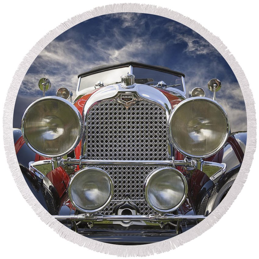 American Round Beach Towel featuring the photograph 1928 Auburn Model 8-88 Speedster by Jack R Perry