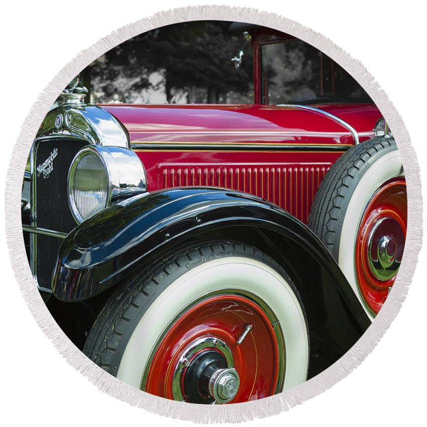 Antique Round Beach Towel featuring the photograph 1928 Hupmobile Century Model E4 4 Door Sedan by Jack R Perry