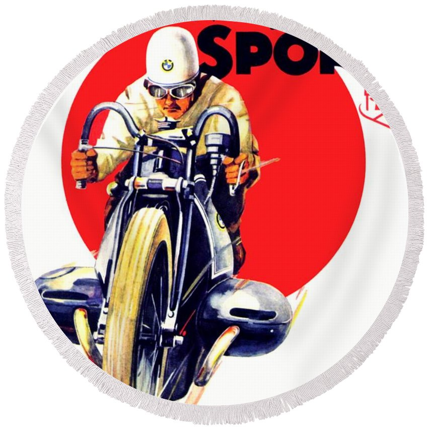 1929 Round Beach Towel featuring the digital art 1929 - Bmw Motorcycle Poster - Color by John Madison