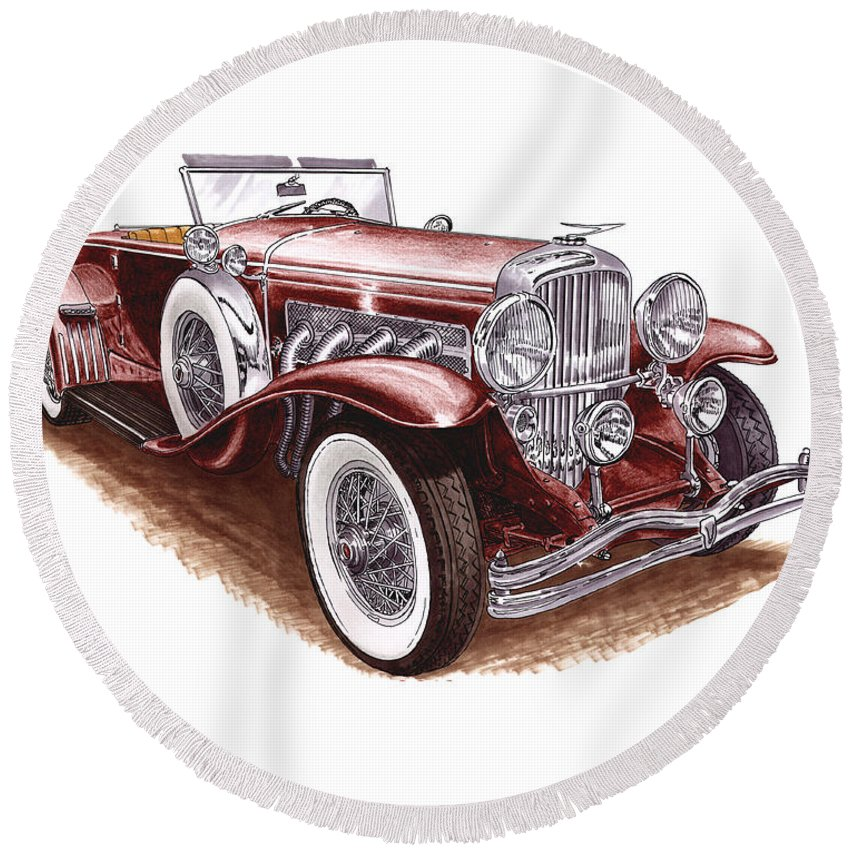 An Art Print Using Colored Pencils Of A 1930 Duesenberh Model J Roadster Coupe Round Beach Towel featuring the mixed media 1930 Dusenberg Model J by Jack Pumphrey