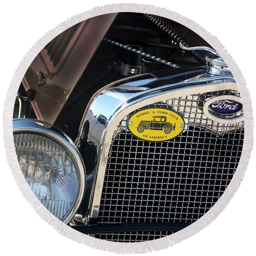 1930 Ford Model A Round Beach Towel featuring the photograph 1930 Ford Model A - Front End - 7497 by Gary Gingrich Galleries