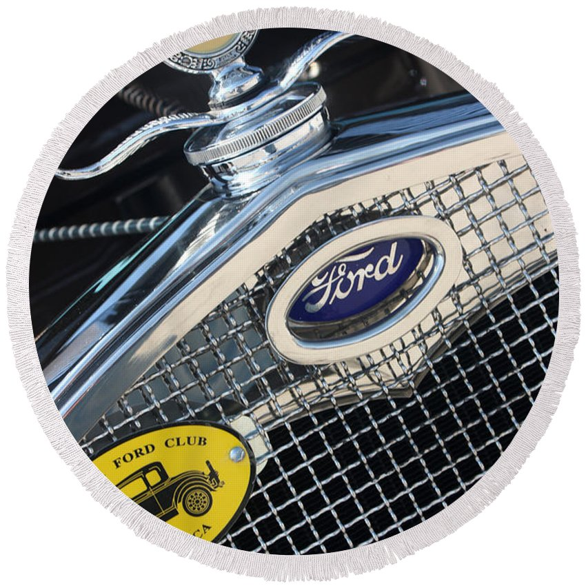 1930 Ford Model A Round Beach Towel featuring the photograph 1930 Ford Model A - Radiator N Grill - 7479 by Gary Gingrich Galleries