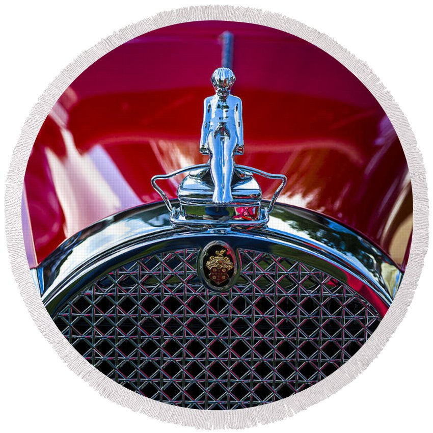 Antique Round Beach Towel featuring the photograph 1930 Packard Model 734 Speedster Runabout by Jack R Perry