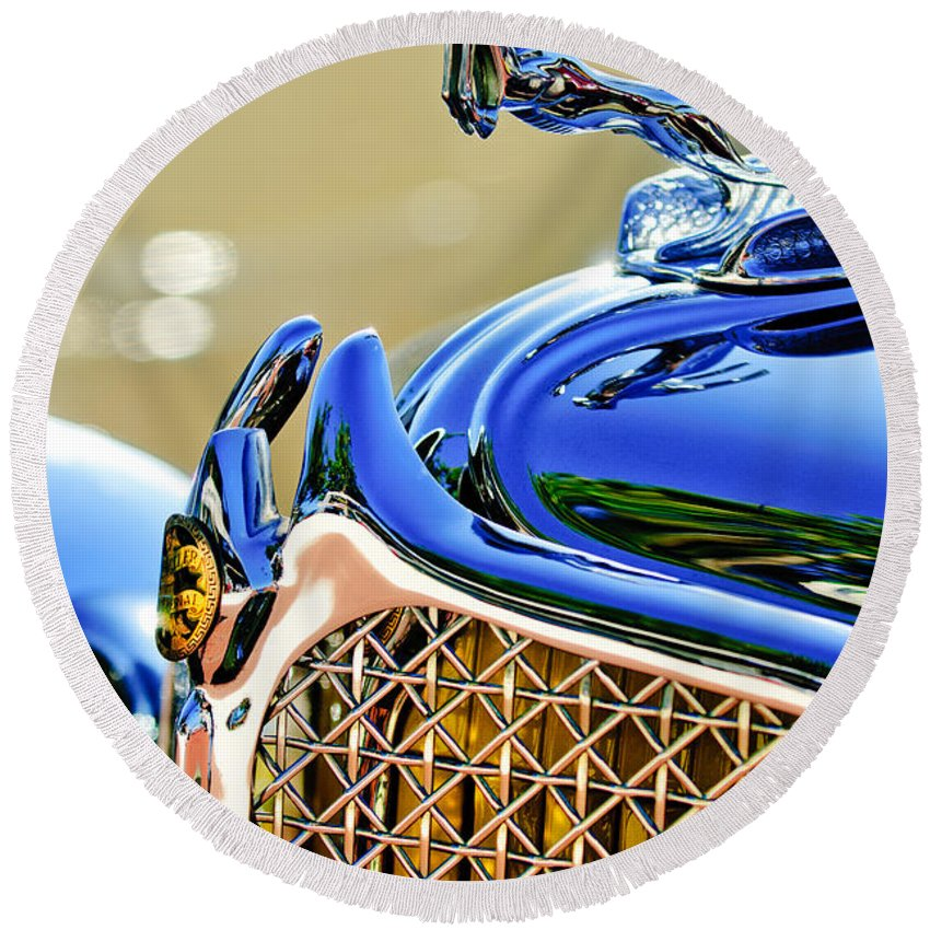 1931 Chrysler Cg Imperial Dual Cowl Phaeton Hood Ornament - Grille Round Beach Towel featuring the photograph 1931 Chrysler Cg Imperial Dual Cowl Phaeton Hood Ornament - Grille by Jill Reger