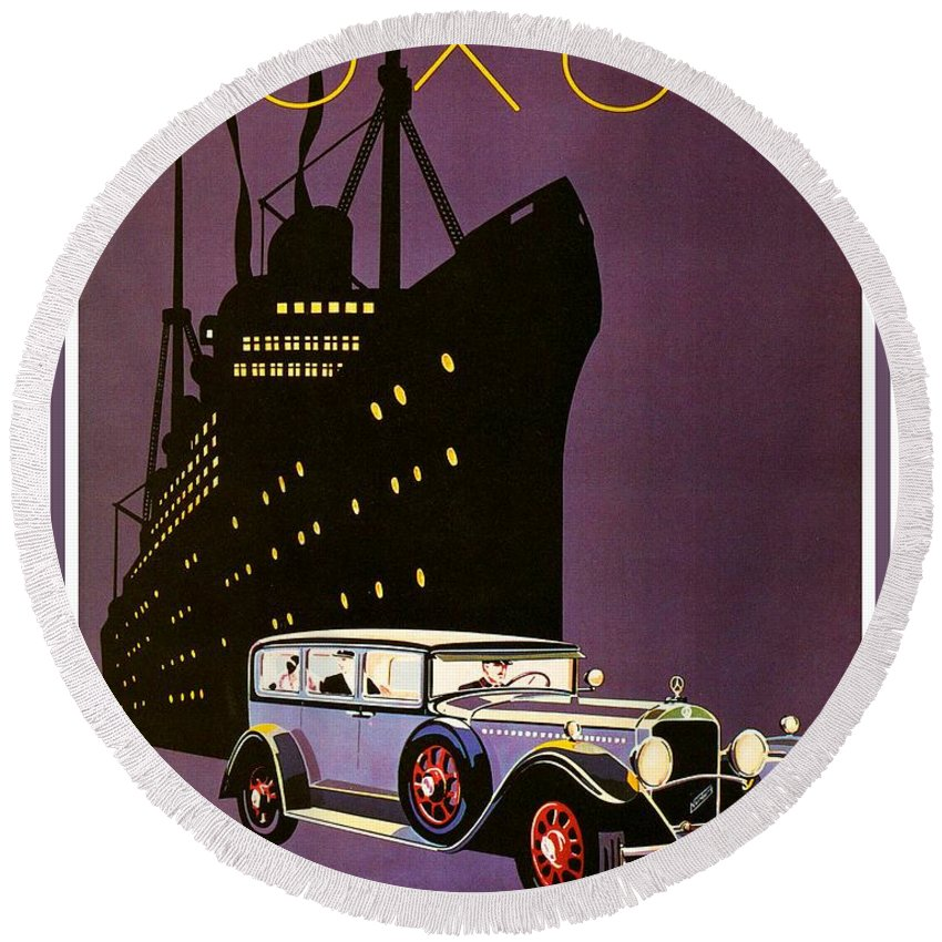 1932 Round Beach Towel featuring the digital art 1932 - Mercedes Benz Automobile Poster - Color by John Madison