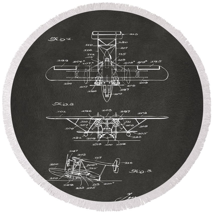 Airplane Round Beach Towel featuring the digital art 1932 Amphibian Aircraft Patent Gray by Nikki Marie Smith