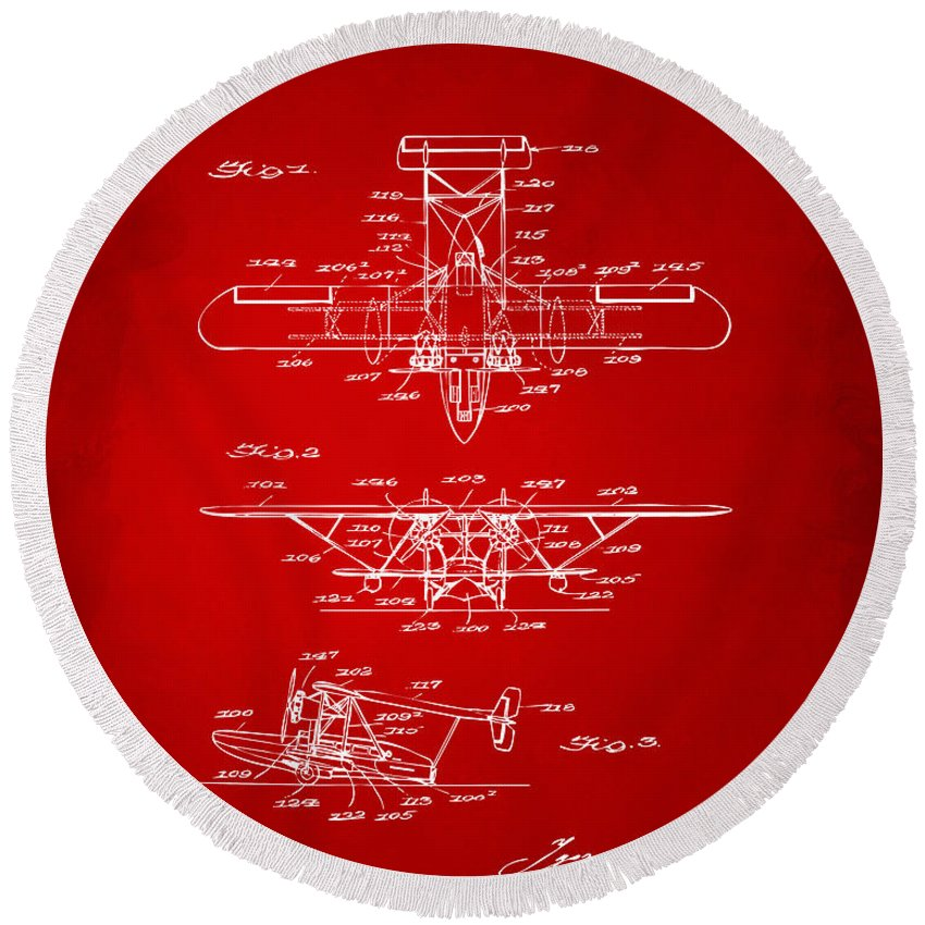 Airplane Round Beach Towel featuring the digital art 1932 Amphibian Aircraft Patent Red by Nikki Marie Smith