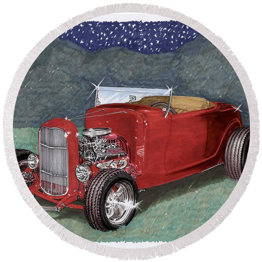 Classic Car Art Round Beach Towel featuring the painting 1932 Ford High Boy by Jack Pumphrey