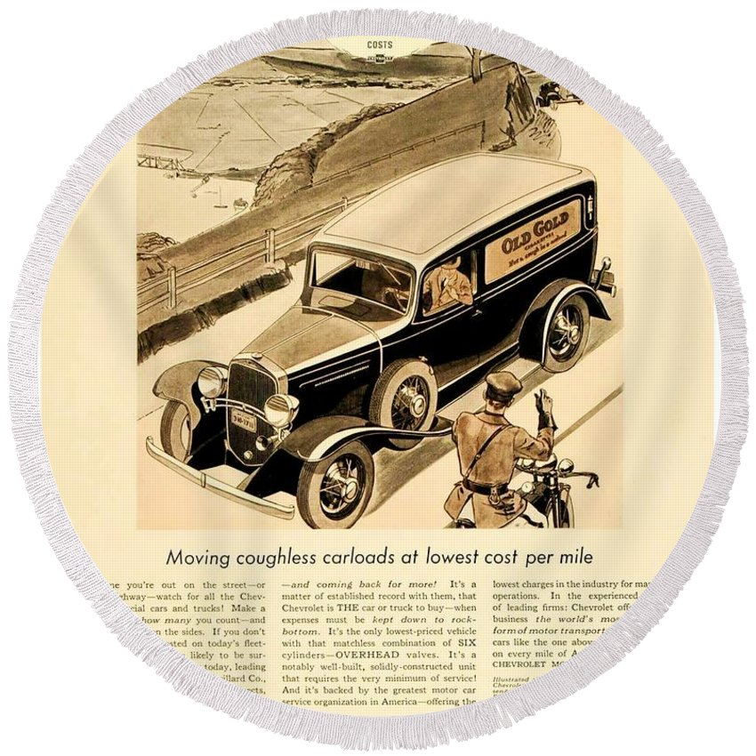 Car Round Beach Towel featuring the digital art 1933 - Chevrolet Commercial Automobile Advertisement - Old Gold Cigarettes - Color by John Madison