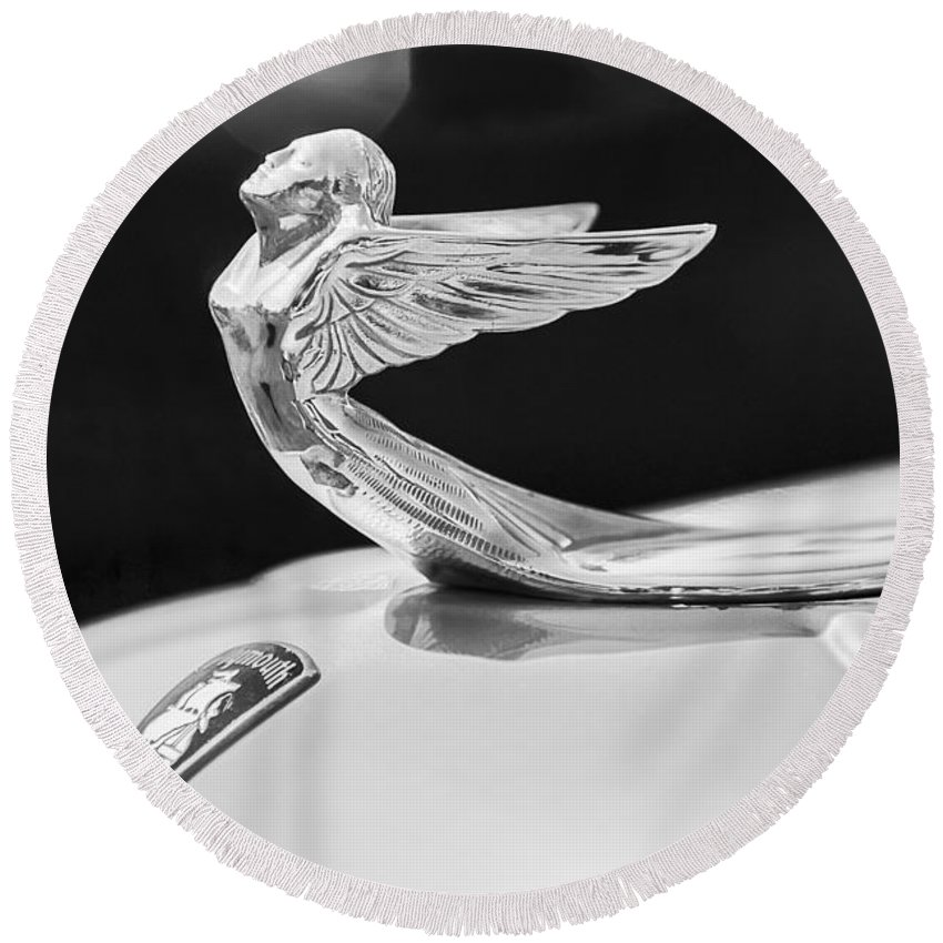 1933 Plymouth Hood Ornament Round Beach Towel featuring the photograph 1933 Plymouth Hood Ornament -0121bw by Jill Reger