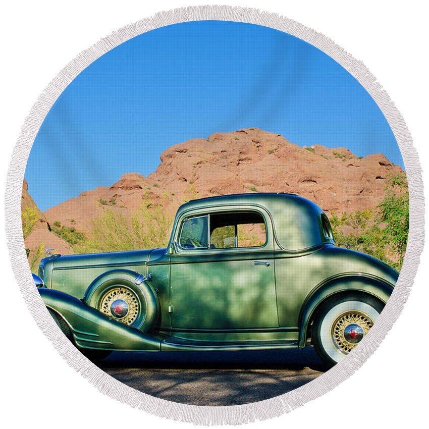 1933 Pontiac Round Beach Towel featuring the photograph 1933 Pontiac -0008c by Jill Reger