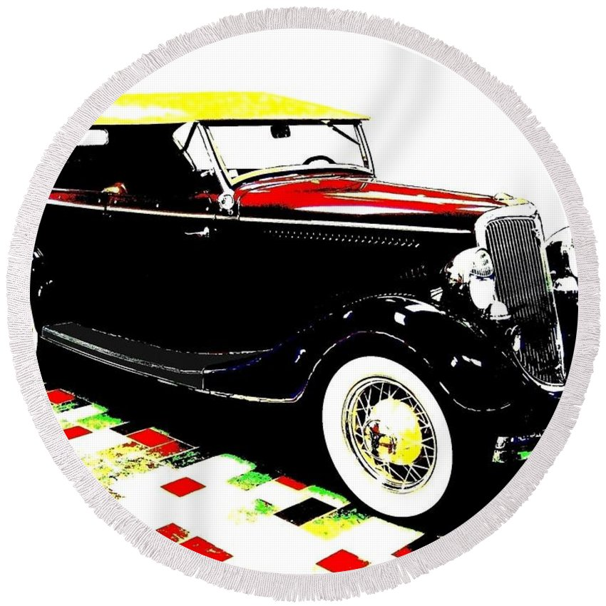 1934 Ford Phaeton V8 Round Beach Towel featuring the digital art 1934 Ford Phaeton V8 by Will Borden