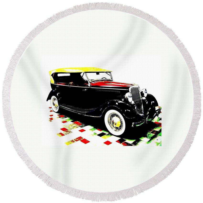 1934 Ford Phaeton V8 Round Beach Towel featuring the digital art 1934 Ford Phaeton V8 by Will Borden