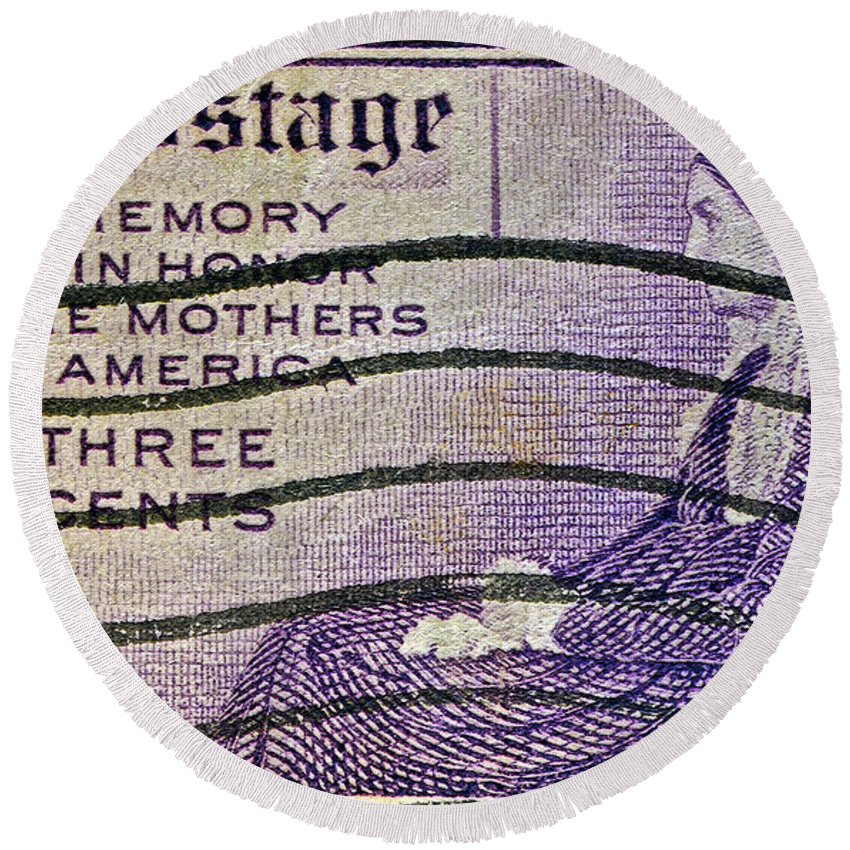 1934 Round Beach Towel featuring the photograph 1934 Mothers Of America Three-cent Stamp by Bill Owen