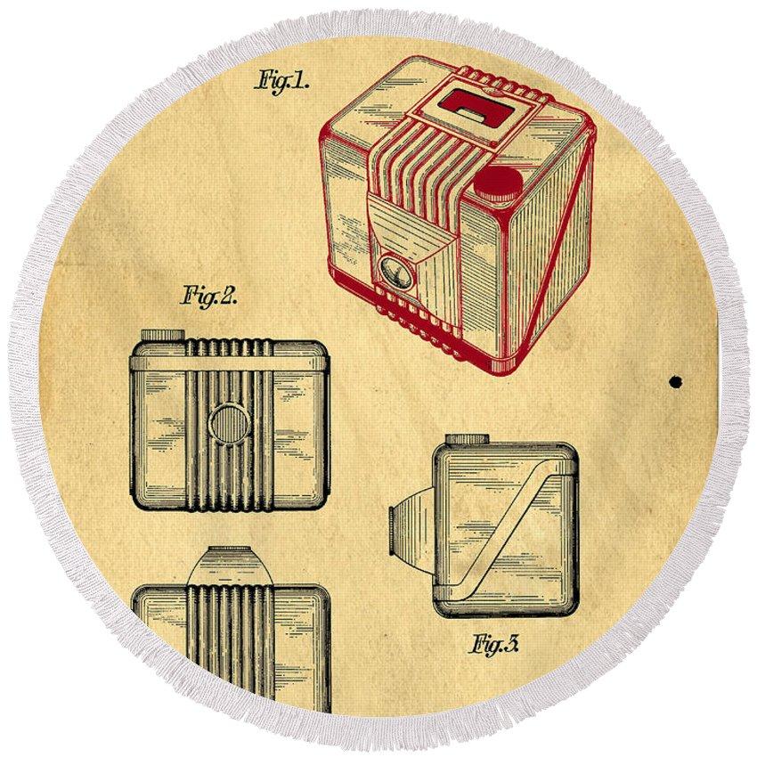 Invention Round Beach Towel featuring the digital art 1935 Kodak Camera Casing Patent by Edward Fielding