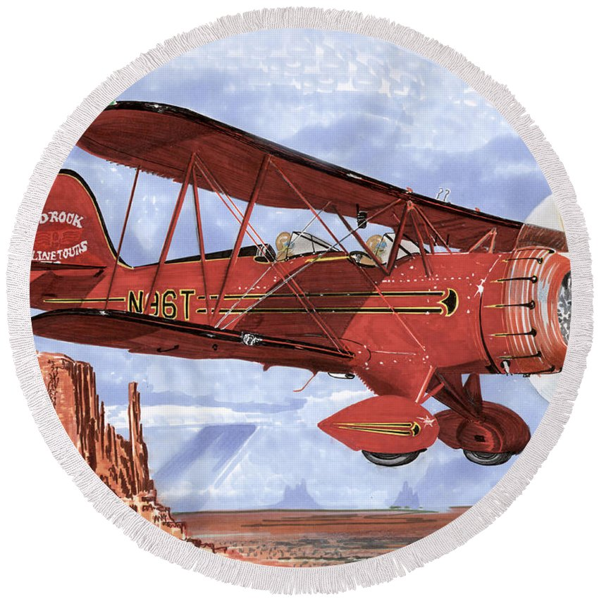 1935 Waco Bi-plane. Framed Prints Of Bi-wing Aircraft. Post Cards Of Old Airplanes. Framed Prints Of Utah Round Beach Towel featuring the painting Monument Valley Bi-plane by Jack Pumphrey