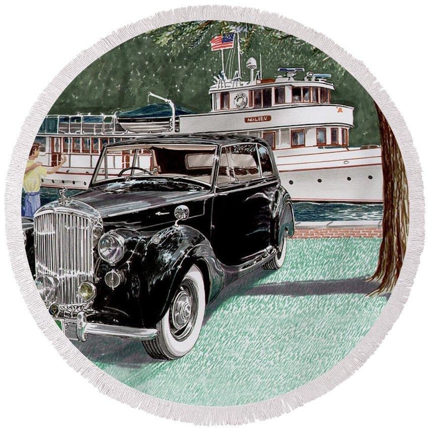 Classic 1936 Bentley British Car Art Round Beach Towel featuring the painting Bentley Waving To Malibu by Jack Pumphrey