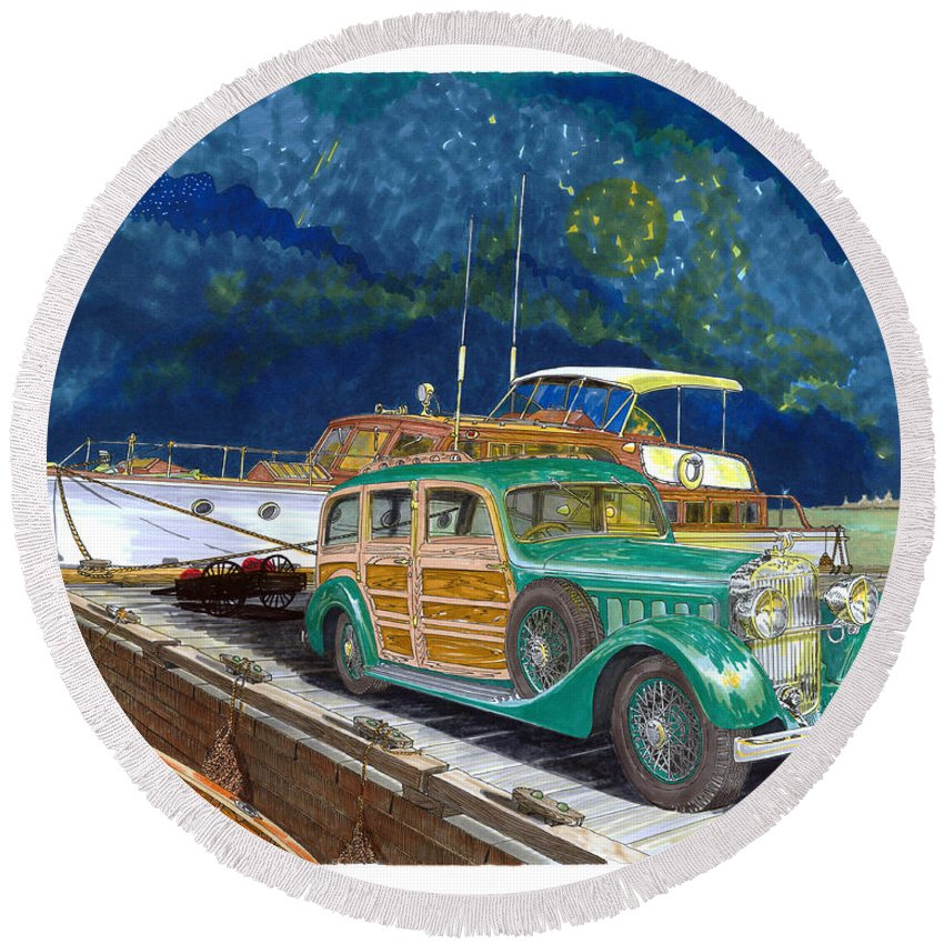 Classic Car Art Round Beach Towel featuring the painting 1936 Hispano Suiza Shooting Brake by Jack Pumphrey