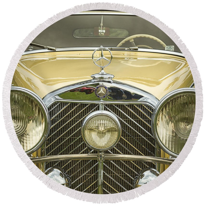 A Round Beach Towel featuring the photograph 1936 Mercedes Benz by Jack R Perry
