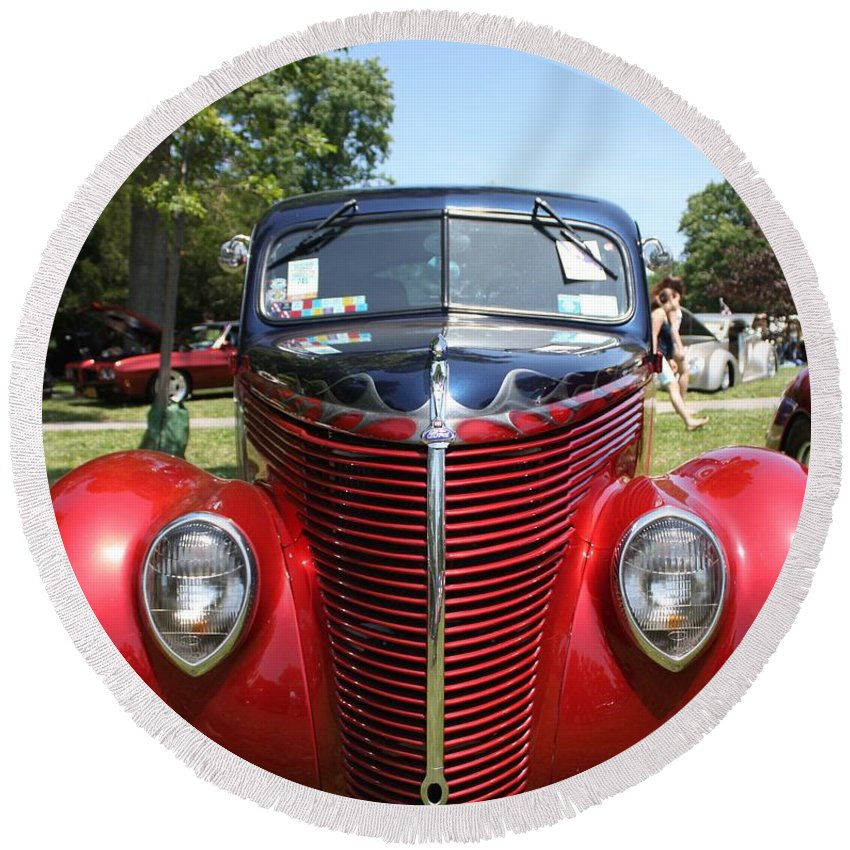 1938 Ford Two Door Sedan Round Beach Towel featuring the photograph 1938 Ford Two Door Sedan Front View by John Telfer