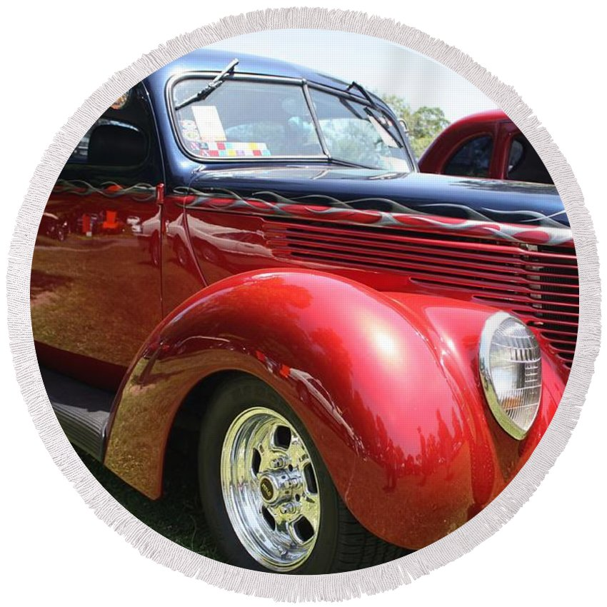1938 Ford Two Door Sedan Round Beach Towel featuring the photograph 1938 Ford Two Door Sedan by John Telfer