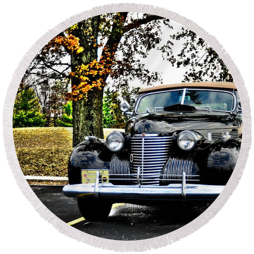 1940 Round Beach Towel featuring the photograph 1940 Cadillac Coupe by Randall Branham