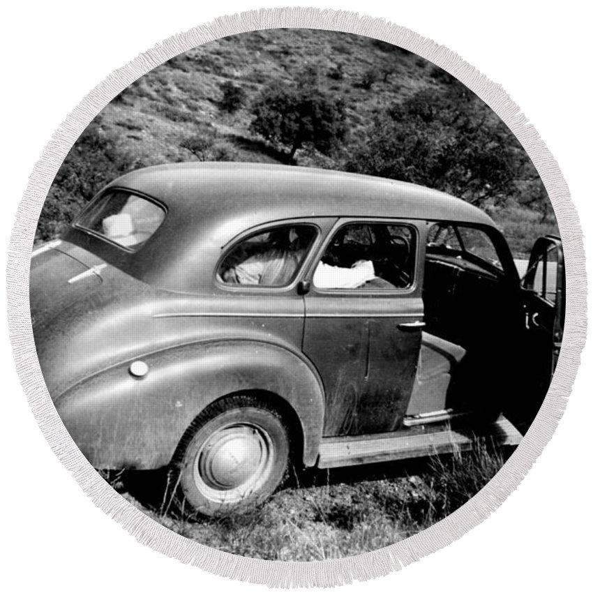 1940 Round Beach Towel featuring the photograph 1940 Chevrolet Special Deluxe 4 Door by Larry Ward