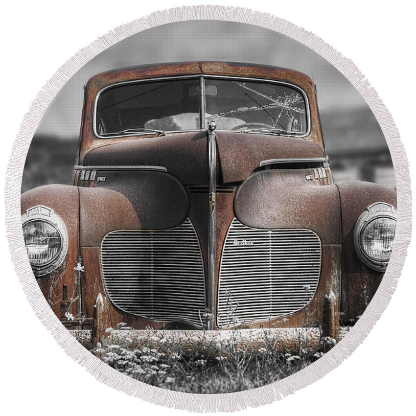 Desoto Round Beach Towel featuring the photograph 1940 Desoto Deluxe With Spot Color by Scott Norris