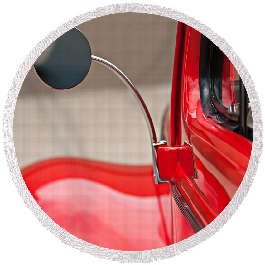 1940 Ford Deluxe Coupe Rear View Mirror Round Beach Towel featuring the photograph 1940 Ford Deluxe Coupe Rear View Mirror by Jill Reger