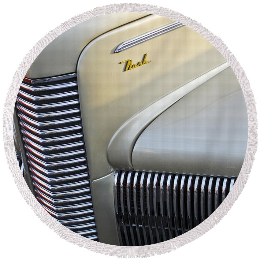 Car Round Beach Towel featuring the photograph 1940 Nash Grille by Jill Reger