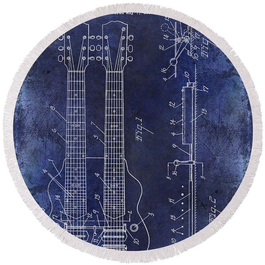 Les Paul Round Beach Towel featuring the photograph 1941 Gibson Electric Guitar Patent Drawing Blue by Jon Neidert