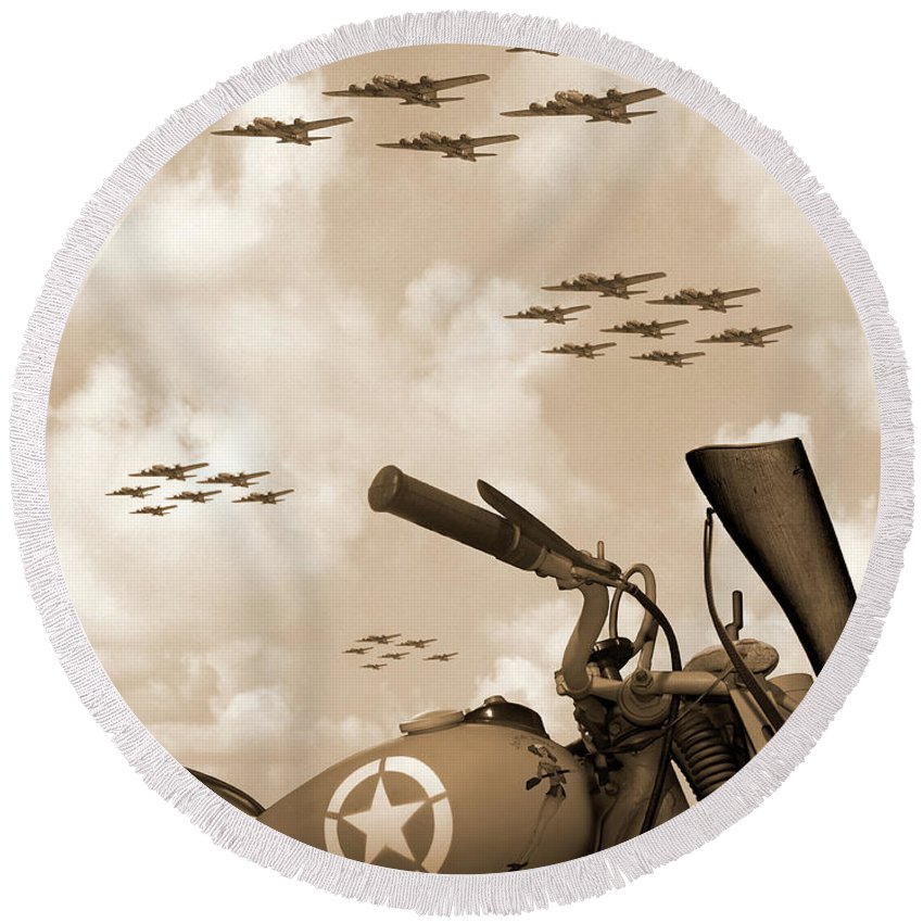 Warbirds Round Beach Towel featuring the photograph 1942 Indian 841 - B-17 Flying Fortress' by Mike McGlothlen