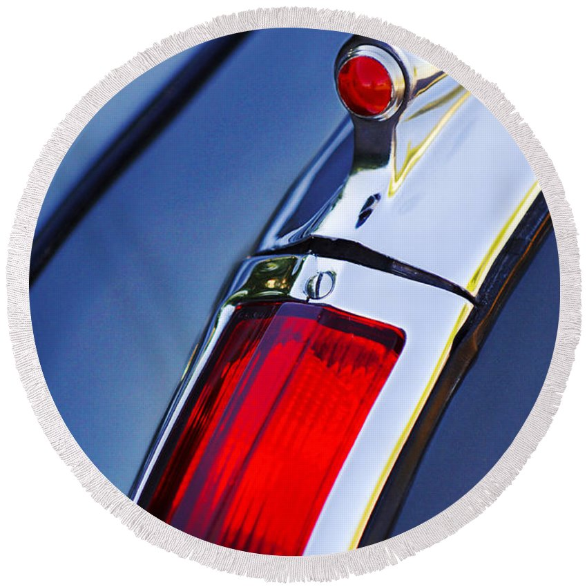 1947 Cadillac Model 62 Coupe Taillight Round Beach Towel featuring the photograph 1947 Cadillac Model 62 Coupe Taillight by Jill Reger