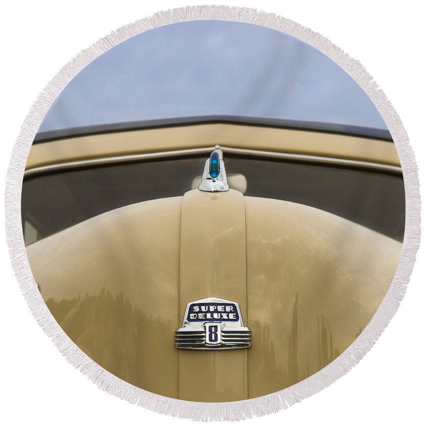 Antique Round Beach Towel featuring the photograph 1947 Ford Super Deluxe Wagon by Jack R Perry